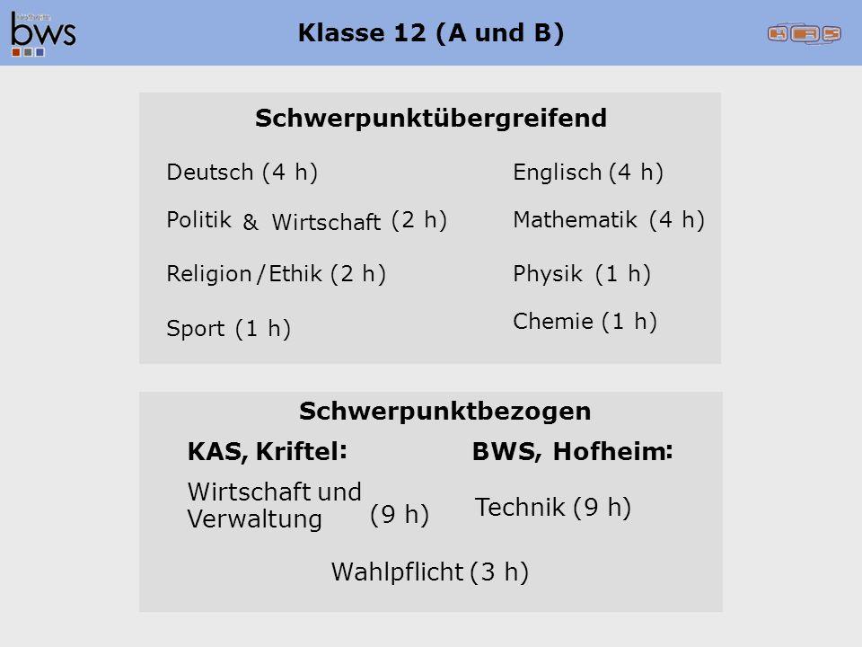 Klasse 12 (A und B) Schwerpunktübergreifend Religion /Ethik (2h) Deutsch(4h)Englisch(4h) Politik &Wirtschaft (2h)Mathematik(4h) Chemie(1h) Sport(1h) Physik(1h) Schwerpunktbezogen KAS,Kriftel : BWS, Hofheim : Wirtschaft und Verwaltung Technik(9h) Wahlpflicht(3h) (9h)