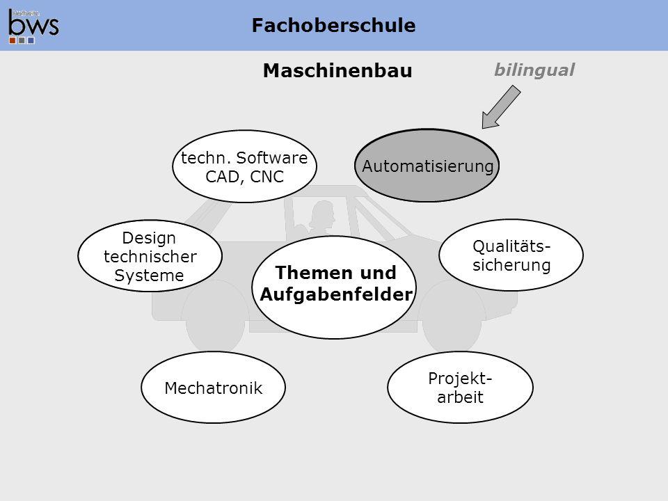 Maschinenbau Fachoberschule Automatisierung Qualitäts- sicherung techn. Software CAD, CNC Design technischer Systeme Mechatronik Projekt- arbeit Theme