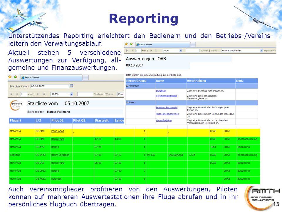 13 Reporting Unterstützendes Reporting erleichtert den Bedienern und den Betriebs-/Vereins- leitern den Verwaltungsablauf. Auch Vereinsmitglieder prof
