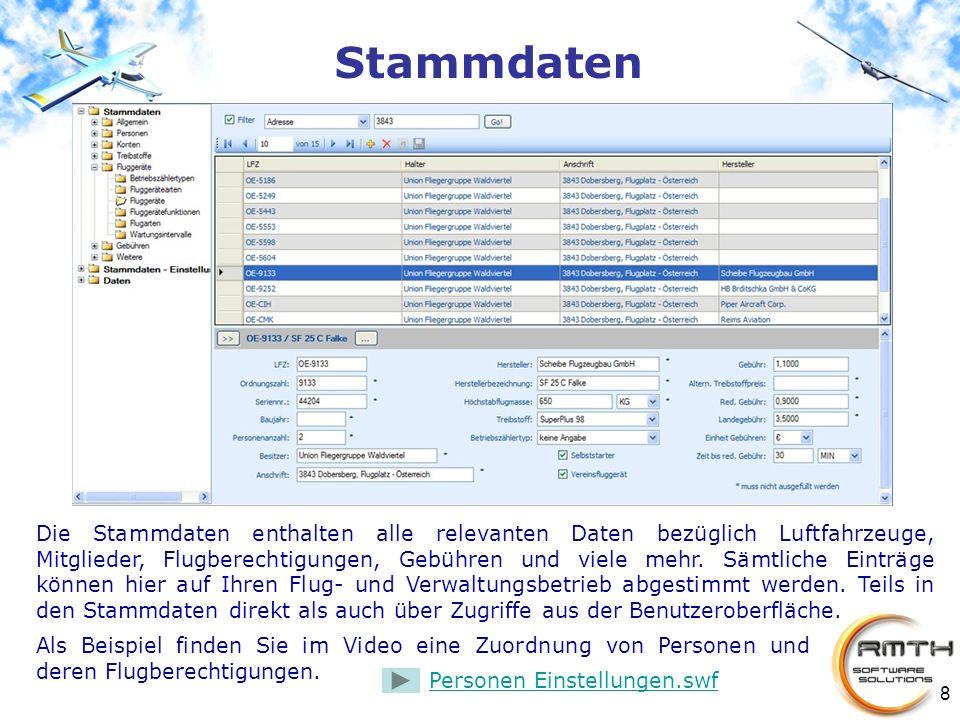 8 Stammdaten Die Stammdaten enthalten alle relevanten Daten bezüglich Luftfahrzeuge, Mitglieder, Flugberechtigungen, Gebühren und viele mehr. Sämtlich