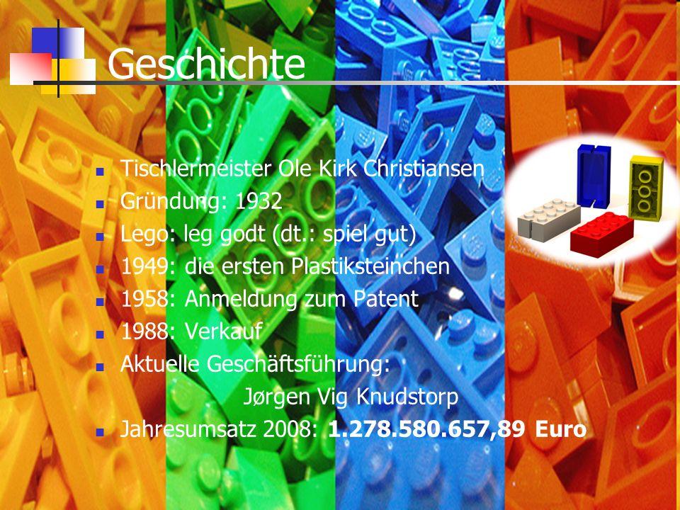 Geschichte Tischlermeister Ole Kirk Christiansen Gründung: 1932 Lego: leg godt (dt.: spiel gut) 1949: die ersten Plastiksteinchen 1958: Anmeldung zum