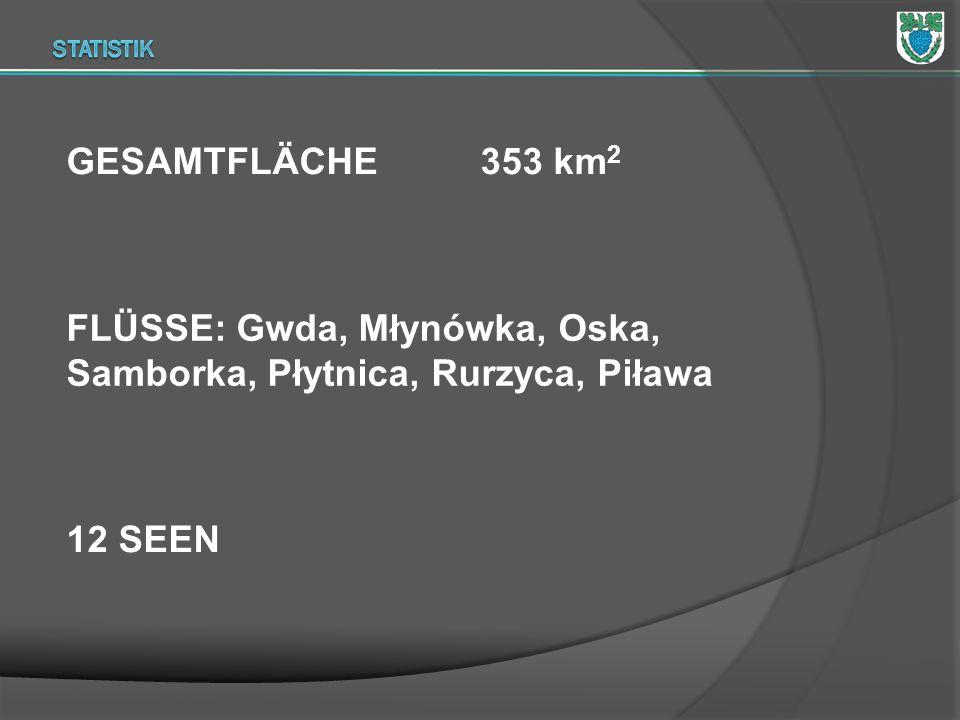 GESAMTFLÄCHE 353 km 2 FLÜSSE: Gwda, Młynówka, Oska, Samborka, Płytnica, Rurzyca, Piława 12 SEEN
