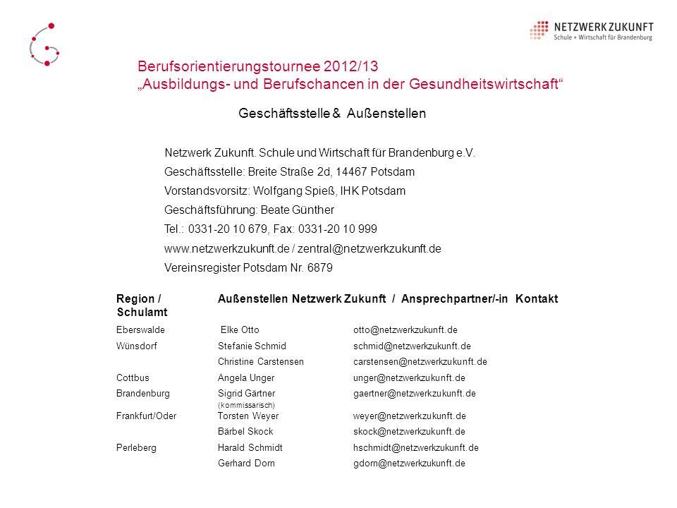 Netzwerk Zukunft. Schule und Wirtschaft für Brandenburg e.V. Geschäftsstelle: Breite Straße 2d, 14467 Potsdam Vorstandsvorsitz: Wolfgang Spieß, IHK Po