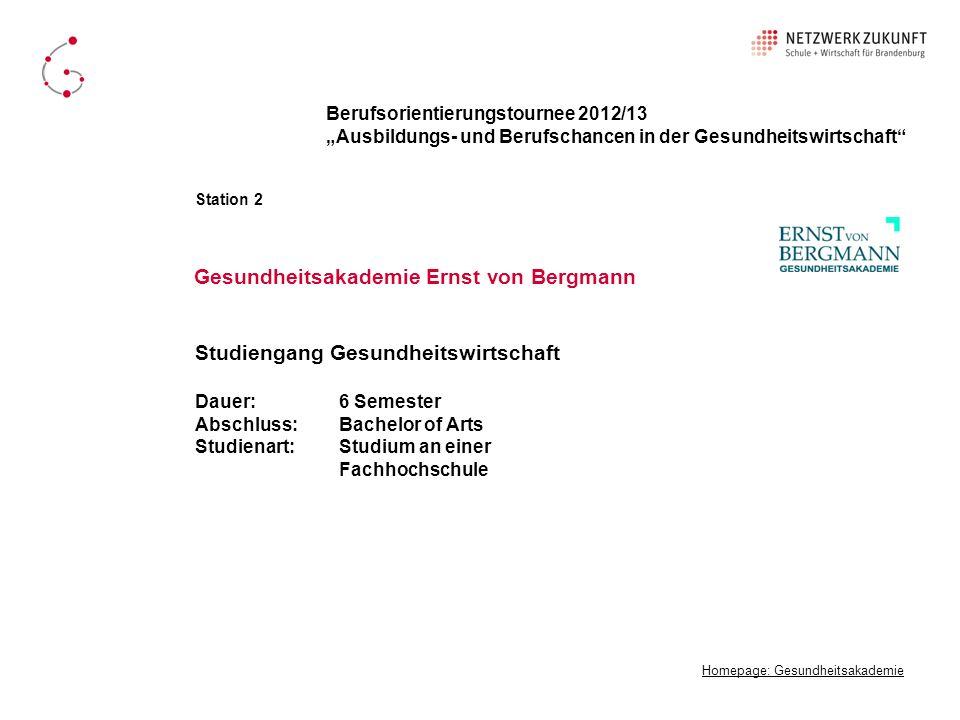 Gesundheitsakademie Ernst von Bergmann Homepage: Gesundheitsakademie Berufsorientierungstournee 2012/13 Ausbildungs- und Berufschancen in der Gesundhe