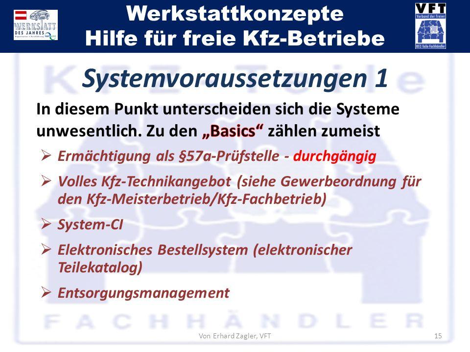Werkstattkonzepte Hilfe für freie Kfz-Betriebe Von Erhard Zagler, VFT15 Ermächtigung als §57a-Prüfstelle - durchgängig Volles Kfz-Technikangebot (sieh