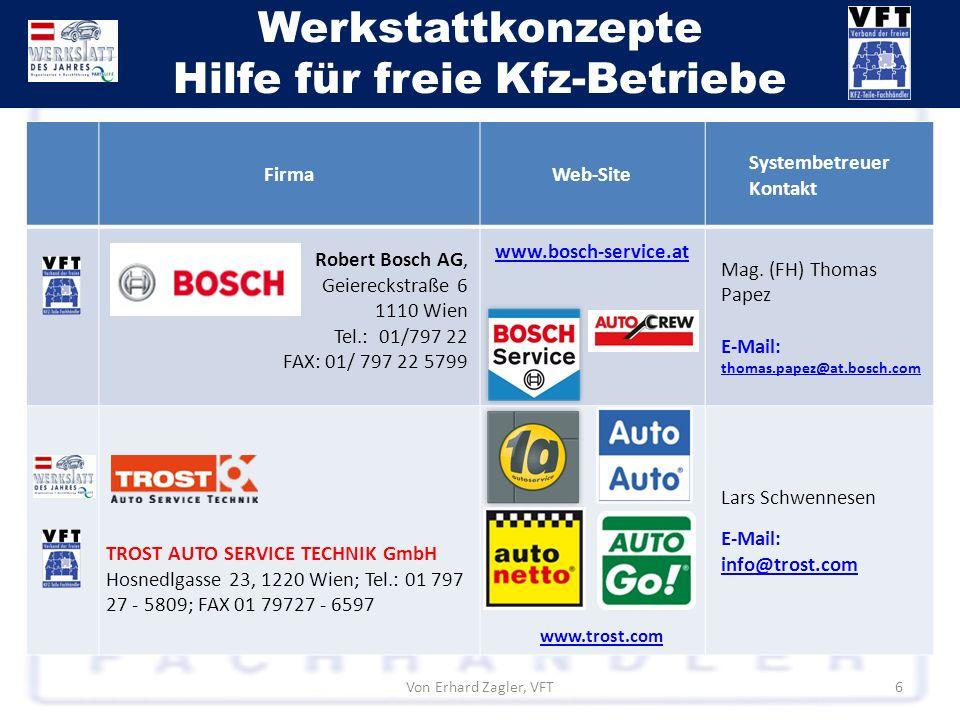 Werkstattkonzepte Hilfe für freie Kfz-Betriebe Von Erhard Zagler, VFT6 FirmaWeb-Site Systembetreuer Kontakt Robert Bosch AG, Geiereckstraße 6 1110 Wie