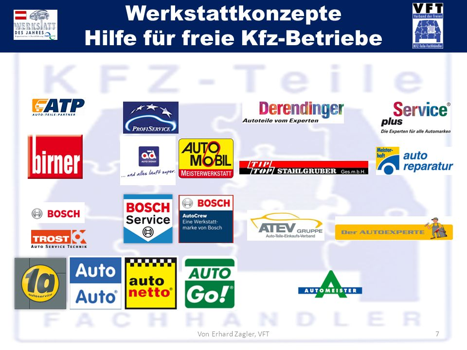 Werkstattkonzepte Hilfe für freie Kfz-Betriebe Von Erhard Zagler, VFT7