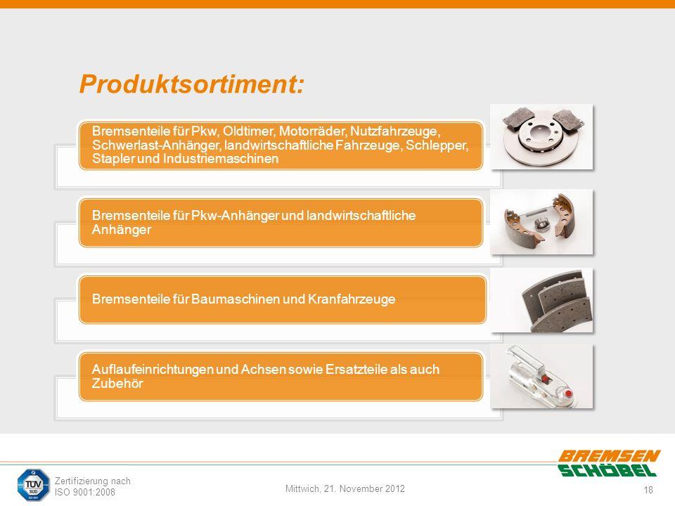 18 Mittwich, 21. November 2012 Zertifizierung nach ISO 9001:2008 Produktsortiment: