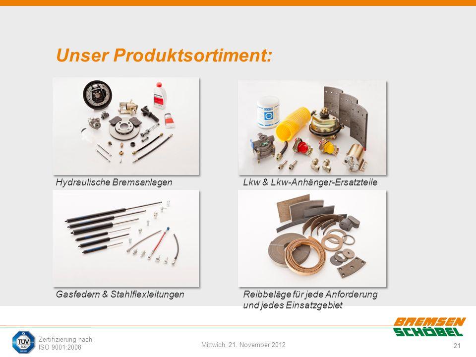 21 Mittwich, 21. November 2012 Zertifizierung nach ISO 9001:2008 Unser Produktsortiment: Hydraulische Bremsanlagen Gasfedern & Stahlflexleitungen Lkw