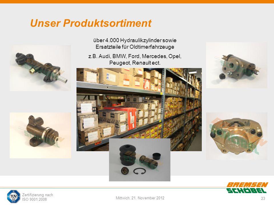 23 Mittwich, 21. November 2012 Zertifizierung nach ISO 9001:2008 Unser Produktsortiment über 4.000 Hydraulikzylinder sowie Ersatzteile für Oldtimerfah
