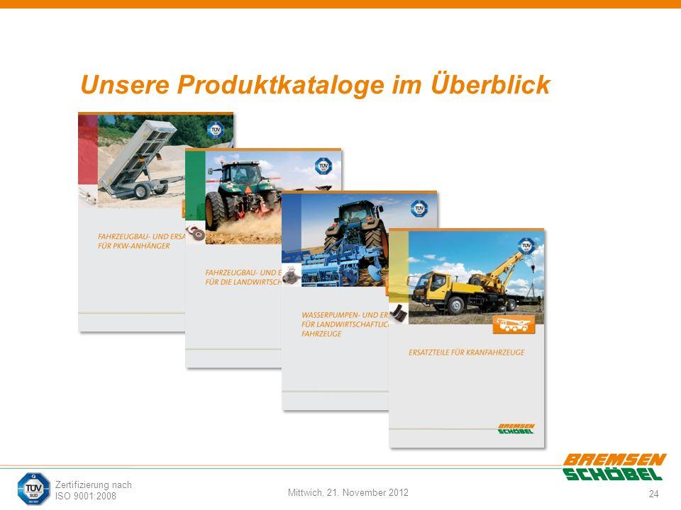 24 Mittwich, 21. November 2012 Zertifizierung nach ISO 9001:2008 Unsere Produktkataloge im Überblick