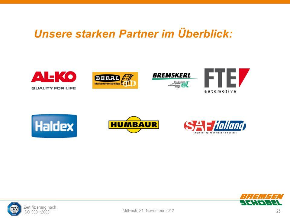 25 Mittwich, 21. November 2012 Zertifizierung nach ISO 9001:2008 Unsere starken Partner im Überblick: