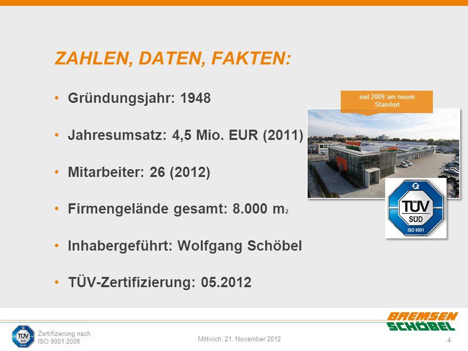 4 Mittwich, 21. November 2012 Zertifizierung nach ISO 9001:2008 ZAHLEN, DATEN, FAKTEN: Gründungsjahr: 1948 Jahresumsatz: 4,5 Mio. EUR (2011) Mitarbeit
