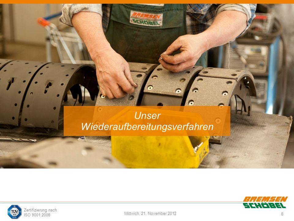 8 Mittwich, 21. November 2012 Zertifizierung nach ISO 9001:2008 Unser Wiederaufbereitungsverfahren