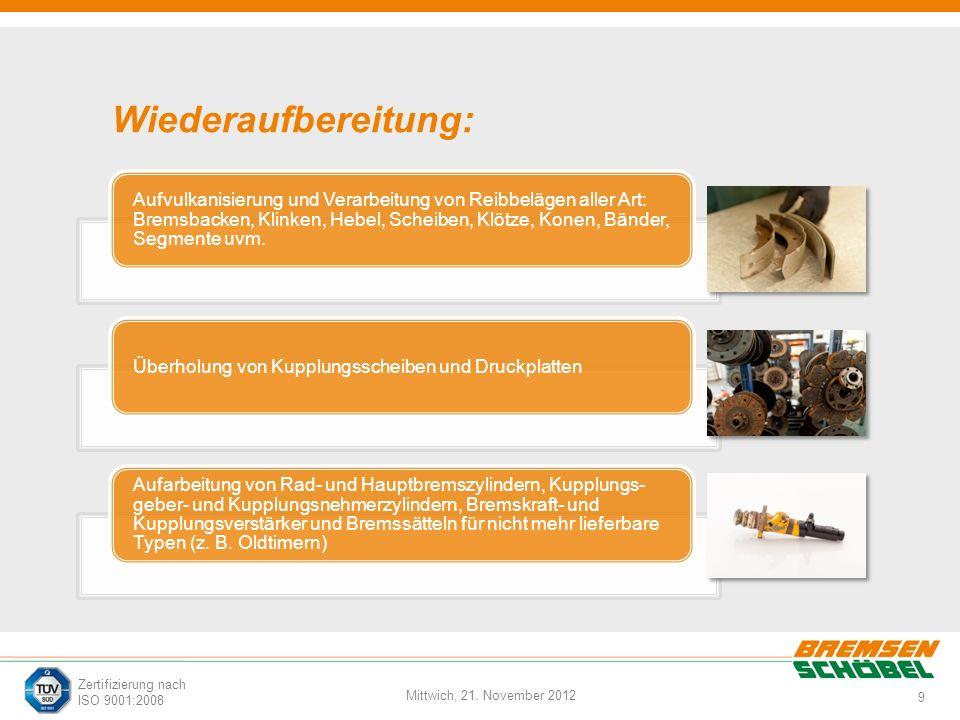 9 Mittwich, 21. November 2012 Zertifizierung nach ISO 9001:2008 Wiederaufbereitung: