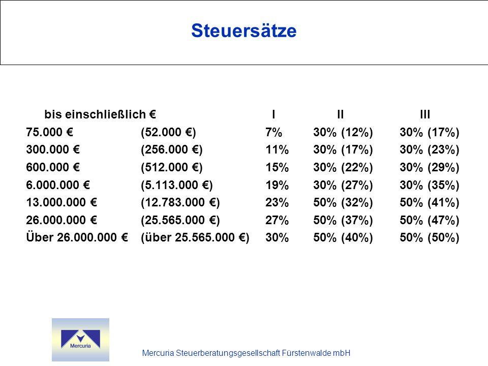 Mercuria Steuerberatungsgesellschaft Fürstenwalde mbH Steuersätze bis einschließlich I II III 75.000 (52.000 )7%30% (12%)30% (17%) 300.000 (256.000 )1