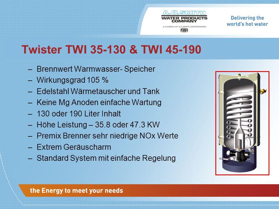 Twister TWI 35-130 & TWI 45-190 –Brennwert Warmwasser- Speicher –Wirkungsgrad 105 % –Edelstahl Wärmetauscher und Tank –Keine Mg Anoden einfache Wartun