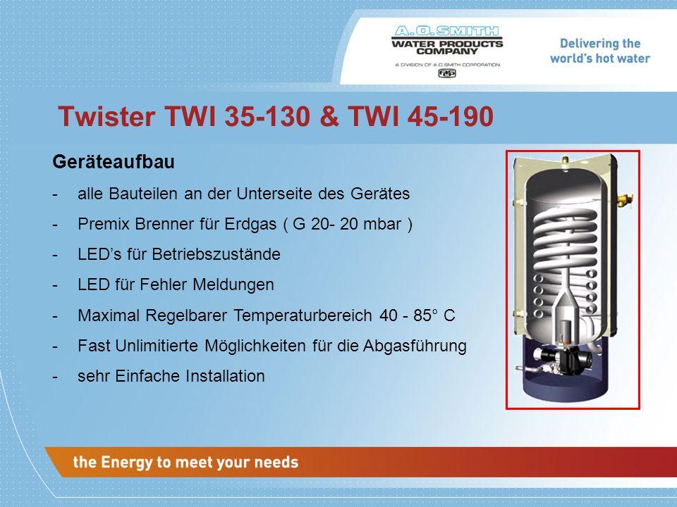 Twister TWI 35-130 & TWI 45-190 Geräteaufbau -alle Bauteilen an der Unterseite des Gerätes -Premix Brenner für Erdgas ( G 20- 20 mbar ) -LEDs für Betr