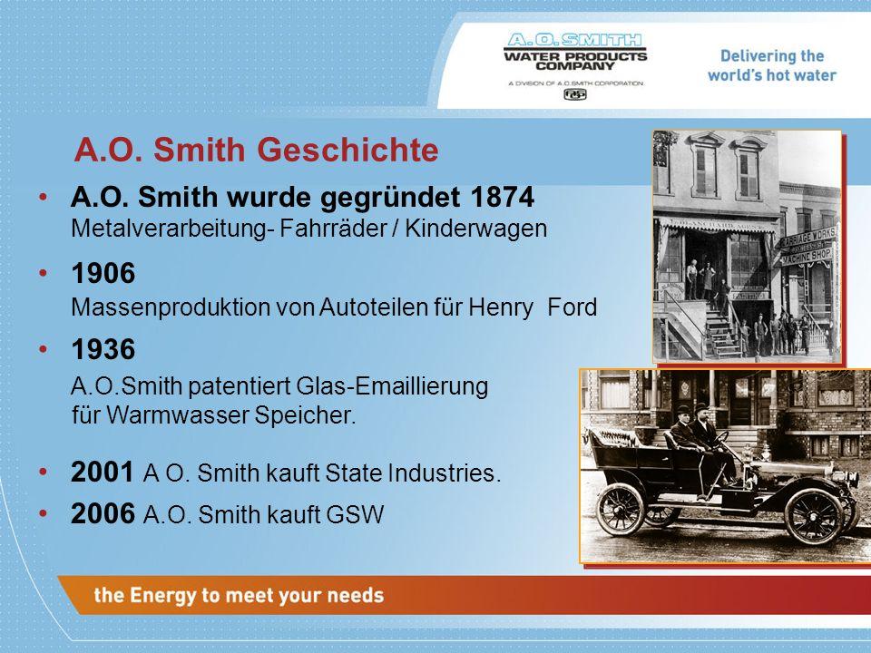 A.O. Smith Geschichte A.O. Smith wurde gegründet 1874 Metalverarbeitung- Fahrr ä der / Kinderwagen 1906 Massenproduktion von Autoteilen f ü r Henry Fo