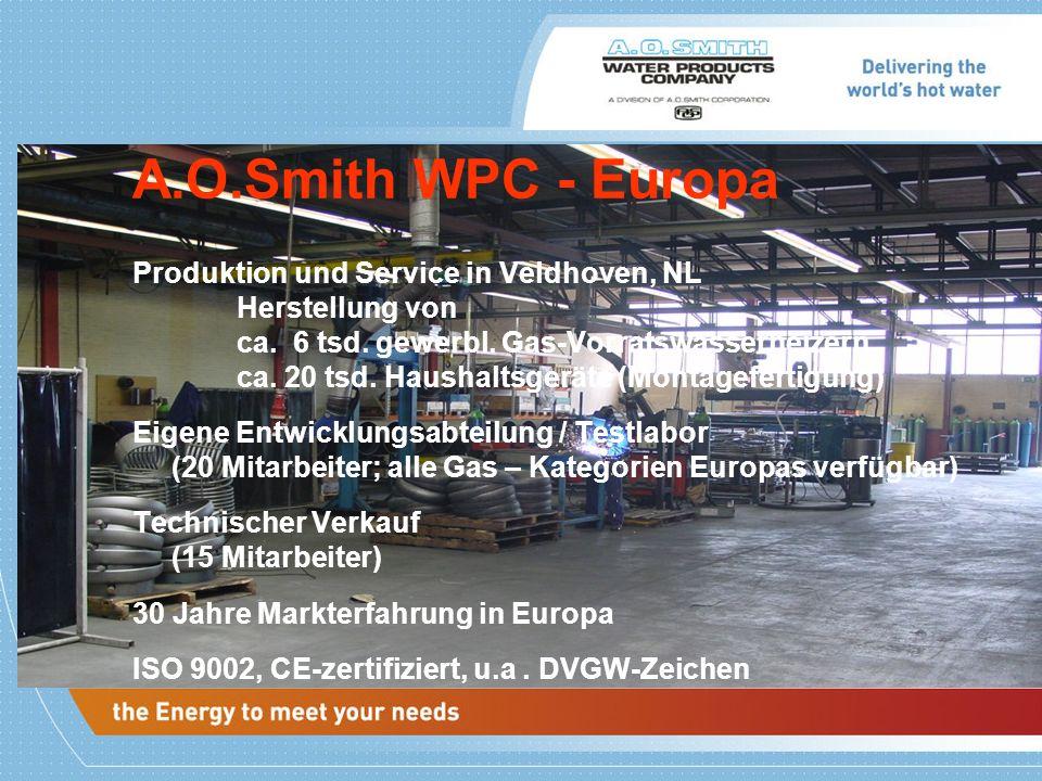 Produktion und Service in Veldhoven, NL Herstellung von ca. 6 tsd. gewerbl. Gas-Vorratswasserheizern ca. 20 tsd. Haushaltsgeräte (Montagefertigung) Ei