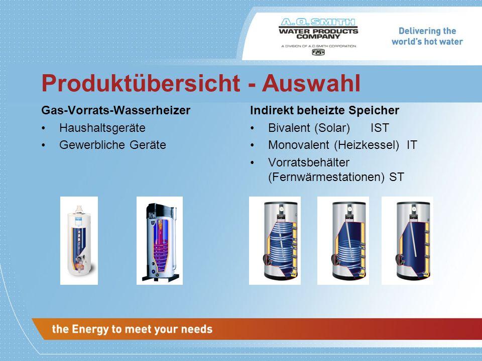 Produktübersicht - Auswahl Gas-Vorrats-Wasserheizer Haushaltsgeräte Gewerbliche Geräte Indirekt beheizte Speicher Bivalent (Solar) IST Monovalent (Hei