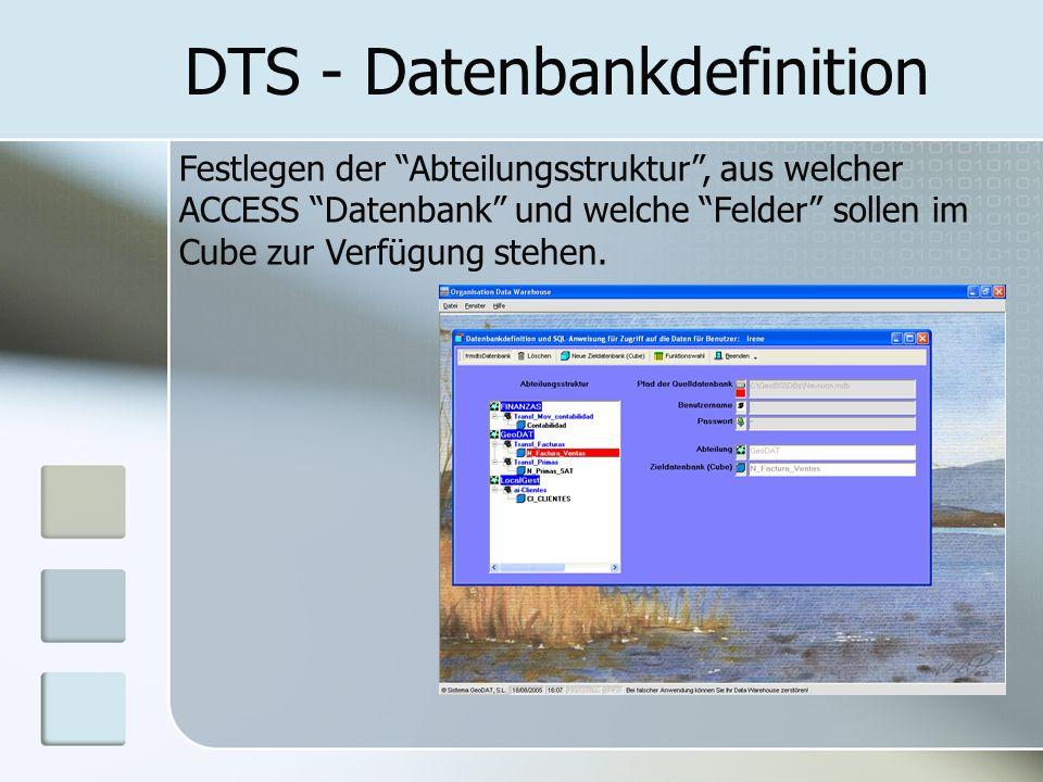 DTS - Datenbankdefinition Festlegen der Abteilungsstruktur, aus welcher ACCESS Datenbank und welche Felder sollen im Cube zur Verfügung stehen.