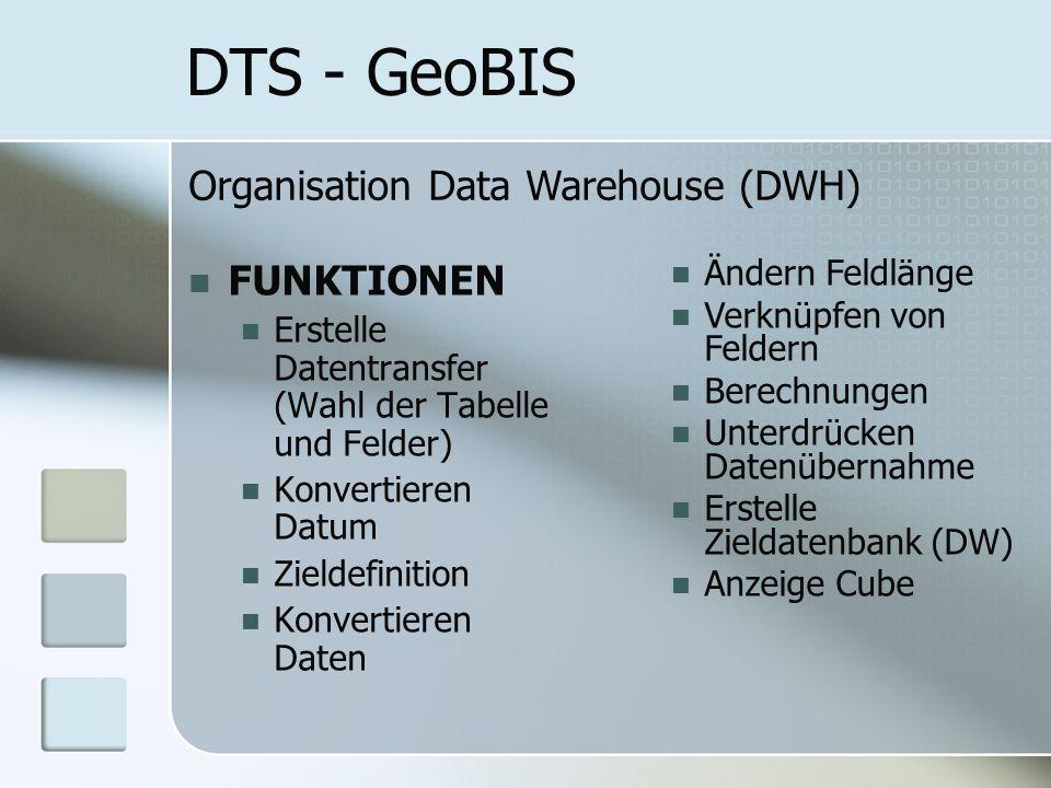 DTS - GeoBIS FUNKTIONEN Erstelle Datentransfer (Wahl der Tabelle und Felder) Konvertieren Datum Zieldefinition Konvertieren Daten Organisation Data Warehouse (DWH) Ändern Feldlänge Verknüpfen von Feldern Berechnungen Unterdrücken Datenübernahme Erstelle Zieldatenbank (DW) Anzeige Cube