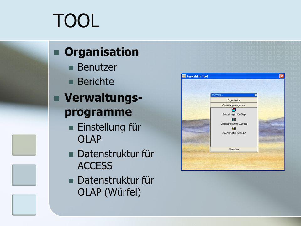 TOOL Organisation Benutzer Berichte Verwaltungs- programme Einstellung für OLAP Datenstruktur für ACCESS Datenstruktur für OLAP (Würfel)