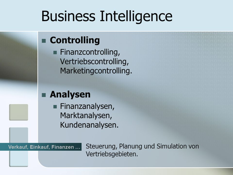 Controlling Finanzcontrolling, Vertriebscontrolling, Marketingcontrolling.