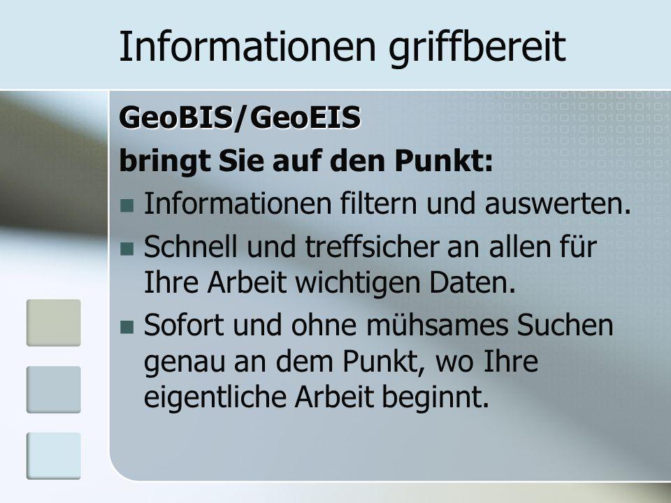 Informationen griffbereit GeoBISGeoEIS GeoBIS/GeoEIS bringt Sie auf den Punkt: Informationen filtern und auswerten.