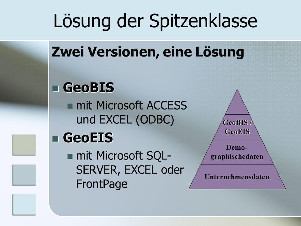 Lösung der Spitzenklasse GeoBIS GeoBIS mit Microsoft ACCESS und EXCEL (ODBC) GeoEIS GeoEIS mit Microsoft SQL- SERVER, EXCEL oder FrontPage GeoBIS / GeoEIS Demo- graphischedaten Unternehmensdaten Zwei Versionen, eine Lösung