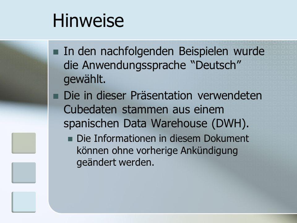 Hinweise In den nachfolgenden Beispielen wurde die Anwendungssprache Deutsch gewählt.