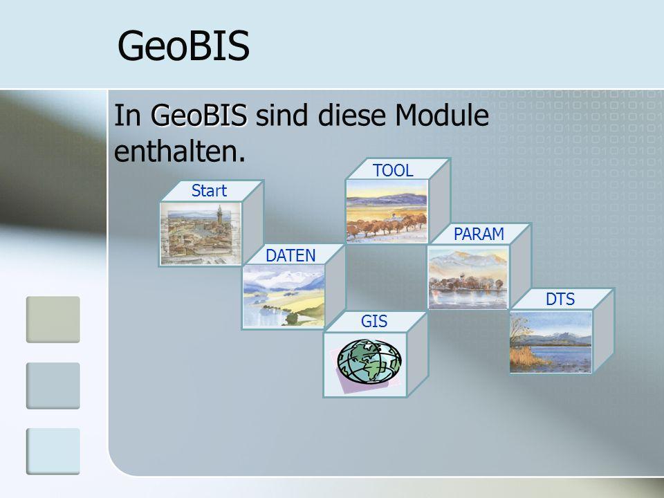 PARAM GeoBIS GeoBIS In GeoBIS sind diese Module enthalten. TOOL DATEN Start GIS DTS