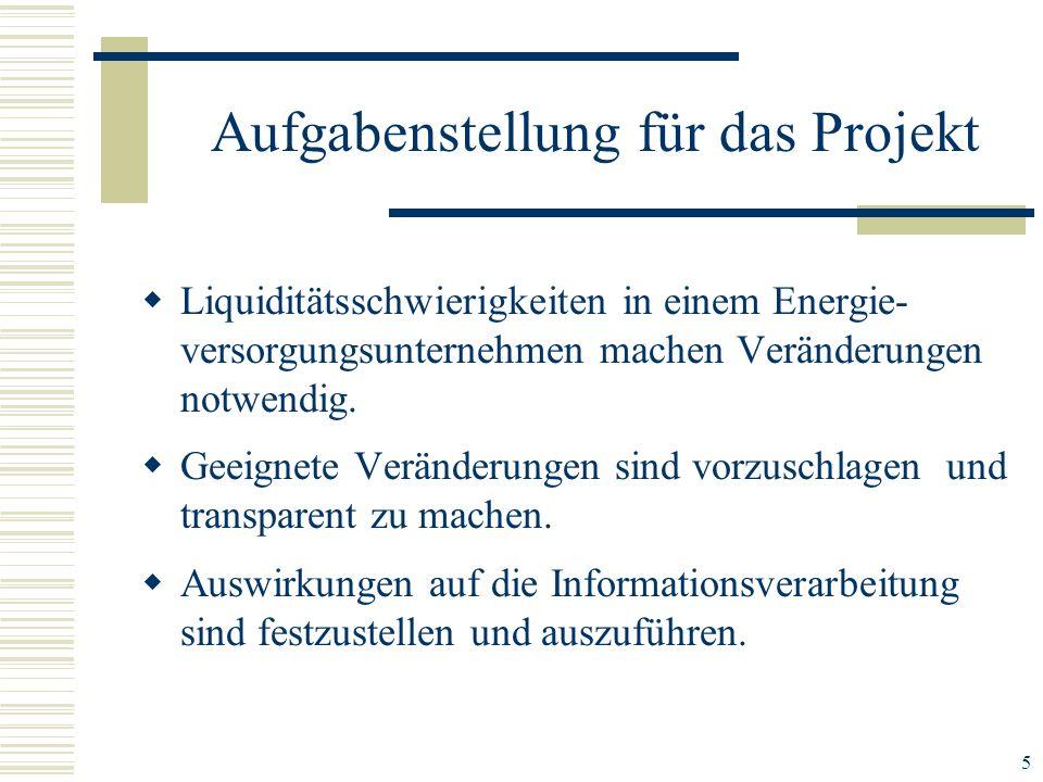 5 Liquiditätsschwierigkeiten in einem Energie- versorgungsunternehmen machen Veränderungen notwendig. Geeignete Veränderungen sind vorzuschlagen und t