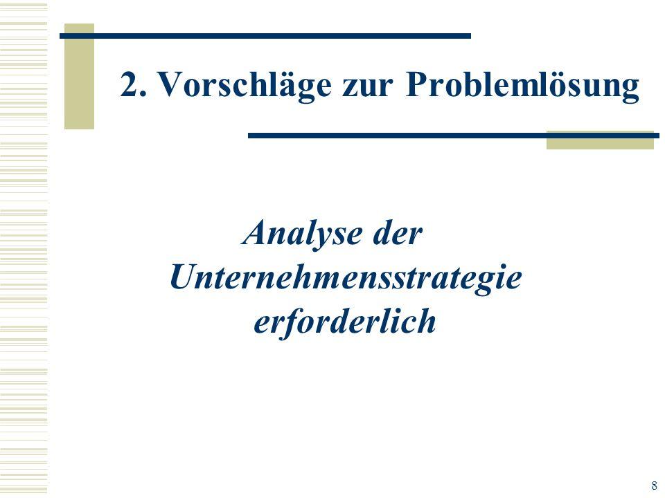 8 2. Vorschläge zur Problemlösung Analyse der Unternehmensstrategie erforderlich