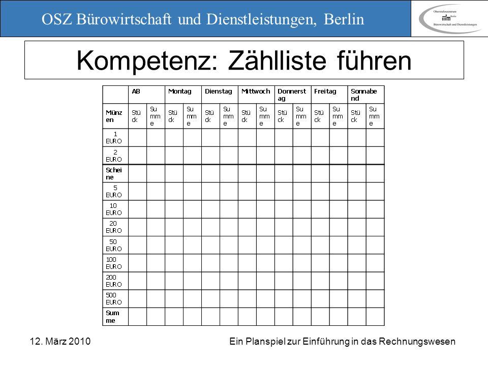 OSZ Bürowirtschaft und Dienstleistungen, Berlin 12. März 2010 Ein Planspiel zur Einführung in das Rechnungswesen Kompetenz: Zählliste führen