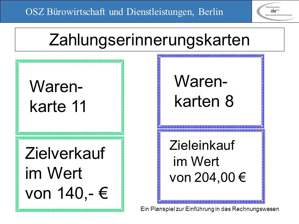 OSZ Bürowirtschaft und Dienstleistungen, Berlin 12. März 2010 Ein Planspiel zur Einführung in das Rechnungswesen Zahlungserinnerungskarten Waren- kart