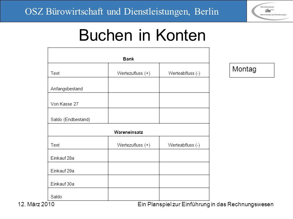 OSZ Bürowirtschaft und Dienstleistungen, Berlin 12. März 2010 Ein Planspiel zur Einführung in das Rechnungswesen Buchen in Konten Bank TextWertezuflus