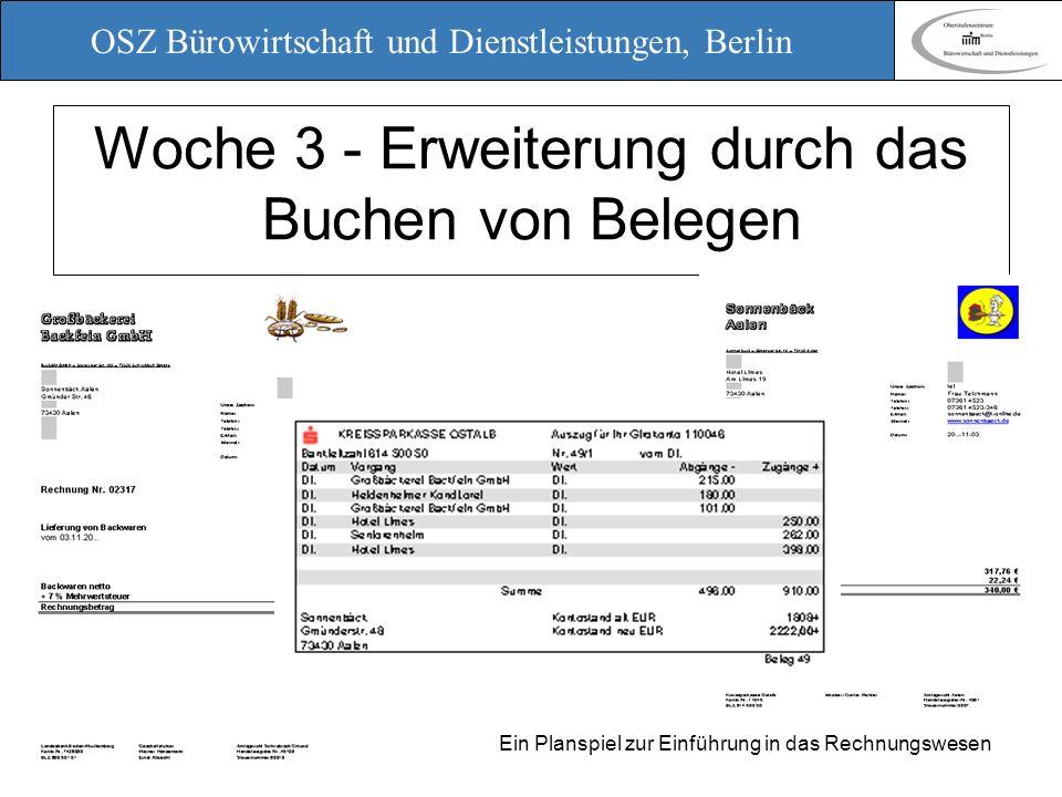 OSZ Bürowirtschaft und Dienstleistungen, Berlin 12. März 2010 Ein Planspiel zur Einführung in das Rechnungswesen Woche 3 - Erweiterung durch das Buche