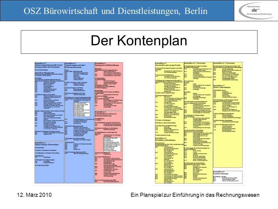 OSZ Bürowirtschaft und Dienstleistungen, Berlin 12. März 2010 Ein Planspiel zur Einführung in das Rechnungswesen Der Kontenplan
