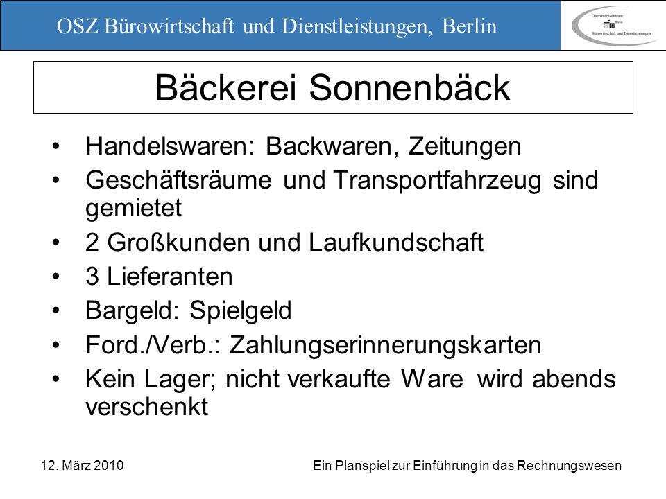OSZ Bürowirtschaft und Dienstleistungen, Berlin 12. März 2010 Ein Planspiel zur Einführung in das Rechnungswesen Bäckerei Sonnenbäck Handelswaren: Bac