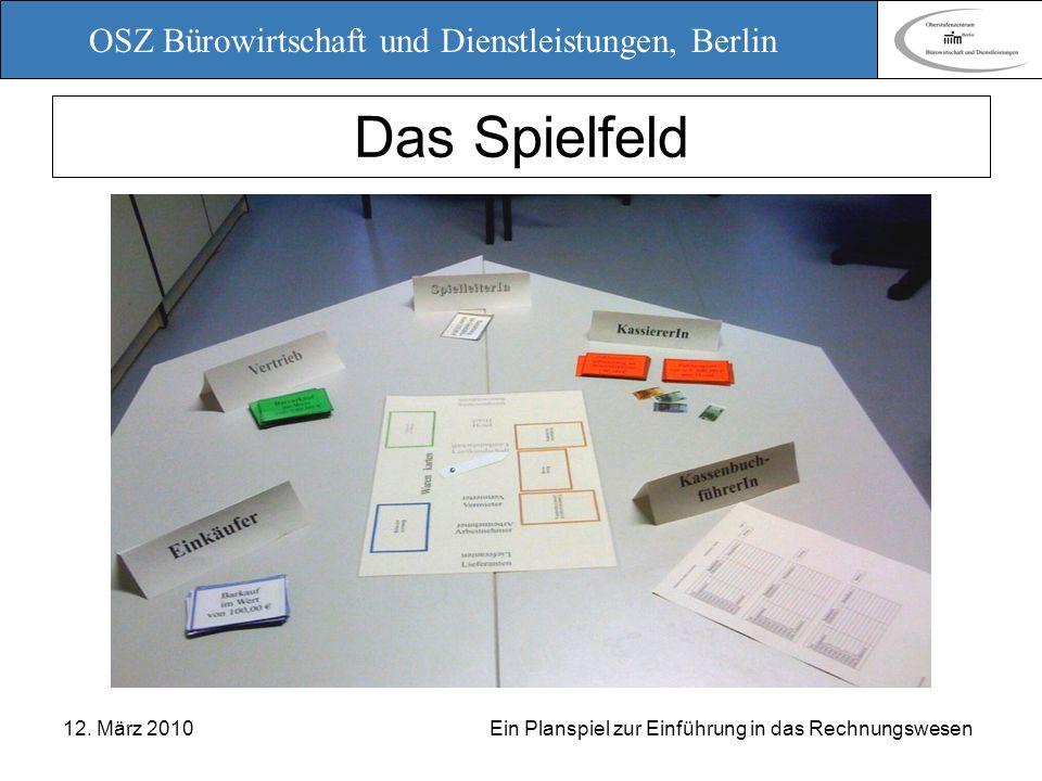 OSZ Bürowirtschaft und Dienstleistungen, Berlin 12. März 2010 Ein Planspiel zur Einführung in das Rechnungswesen Das Spielfeld