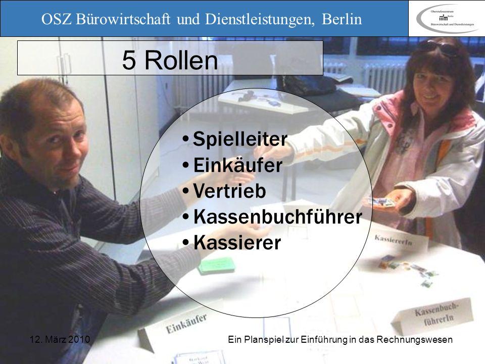 OSZ Bürowirtschaft und Dienstleistungen, Berlin 12. März 2010 Ein Planspiel zur Einführung in das Rechnungswesen 5 Rollen Spielleiter Einkäufer Vertri