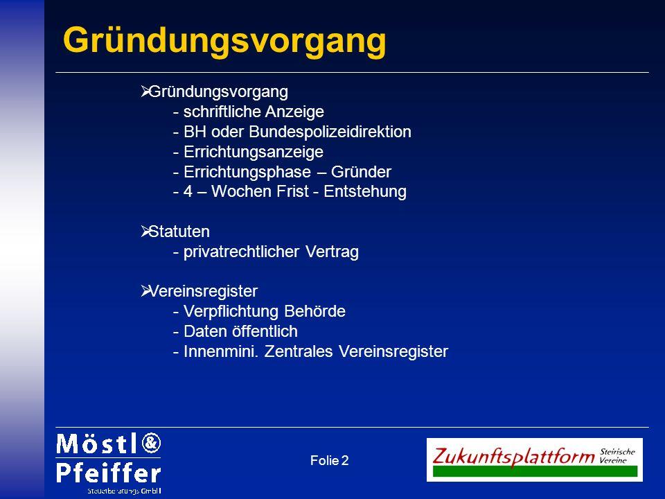 Folie 2 Gründungsvorgang - schriftliche Anzeige - BH oder Bundespolizeidirektion - Errichtungsanzeige - Errichtungsphase – Gründer - 4 – Wochen Frist