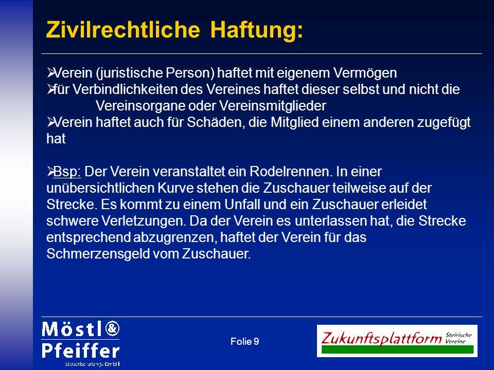 Folie 9 Zivilrechtliche Haftung: Verein (juristische Person) haftet mit eigenem Vermögen für Verbindlichkeiten des Vereines haftet dieser selbst und n