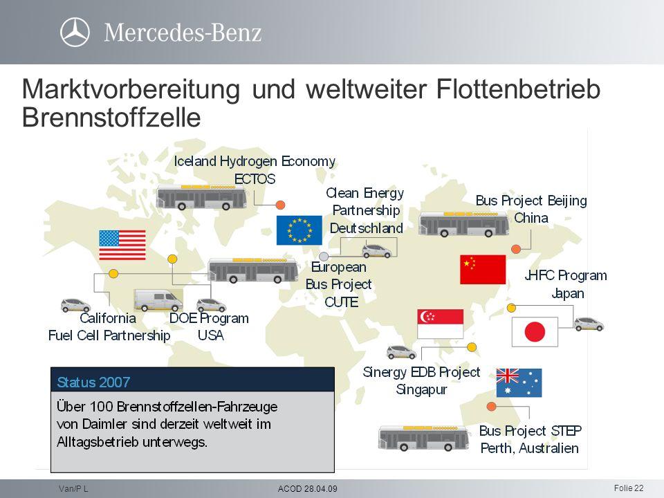 Folie 22 ACOD 28.04.09Van/P L Marktvorbereitung und weltweiter Flottenbetrieb Brennstoffzelle