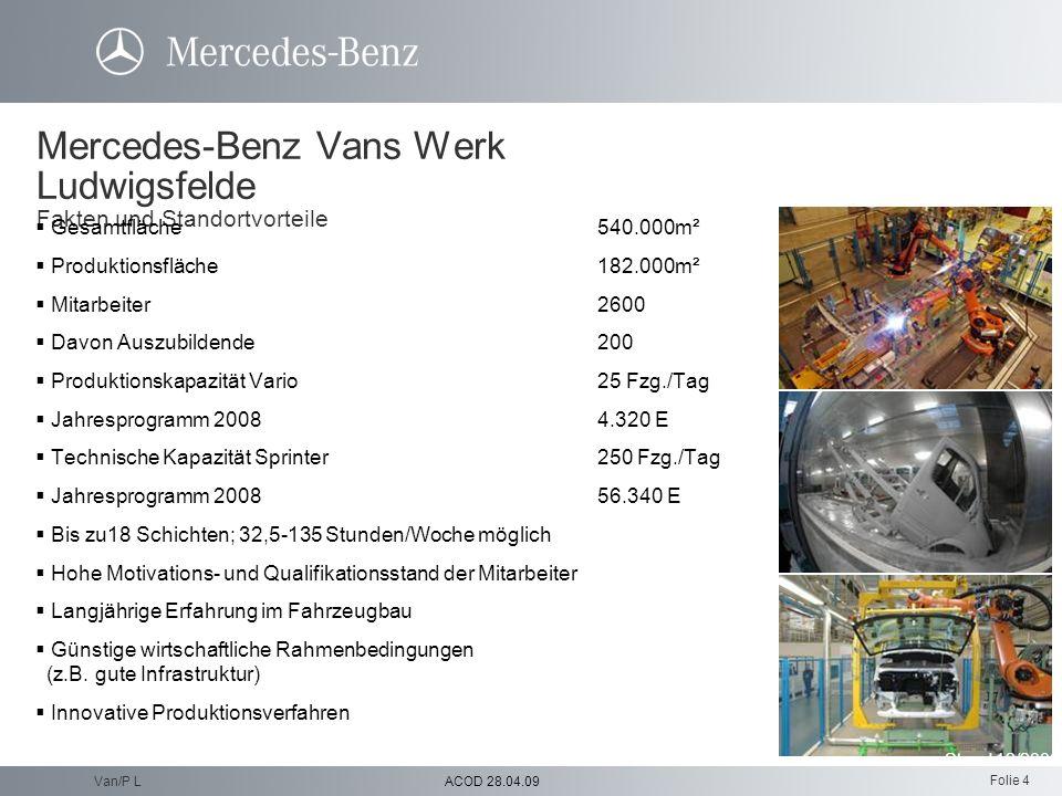 Folie 4 ACOD 28.04.09Van/P L Mercedes-Benz Vans Werk Ludwigsfelde Fakten und Standortvorteile Gesamtfläche540.000m² Produktionsfläche182.000m² Mitarbe