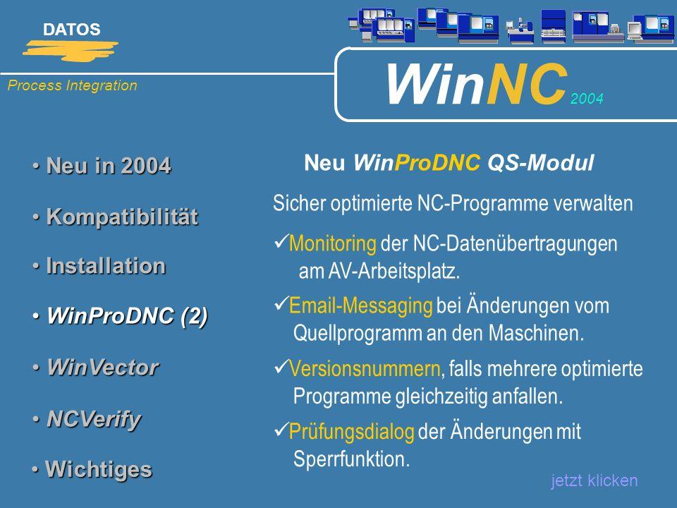 Process Integration DATOS WinNC 2004 Neu in 2004 Neu in 2004 Neu WinProDNC QS-Modul jetzt klicken Kompatibilität Kompatibilität Installation Installat