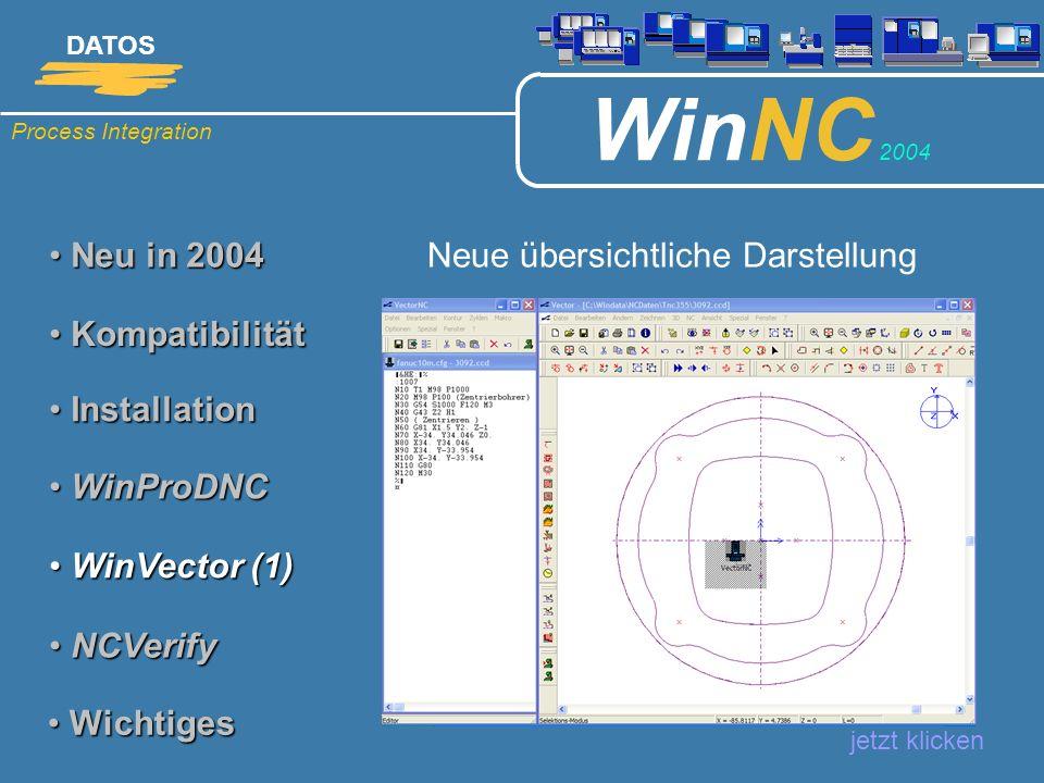 Process Integration DATOS WinNC 2004 Neu in 2004 Neu in 2004 Neue übersichtliche Darstellung jetzt klicken Kompatibilität Kompatibilität Installation