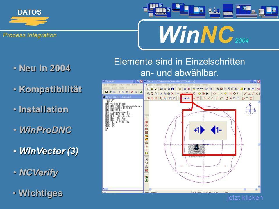 Process Integration DATOS WinNC 2004 Neu in 2004 Neu in 2004 Elemente sind in Einzelschritten an- und abwählbar. jetzt klicken Kompatibilität Kompatib